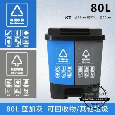湖北脚踏分类垃圾桶80L双桶(蓝加灰)可回收其他